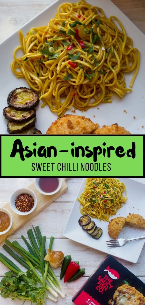 Asian Inspired Sweet Chilli Noodles pin
