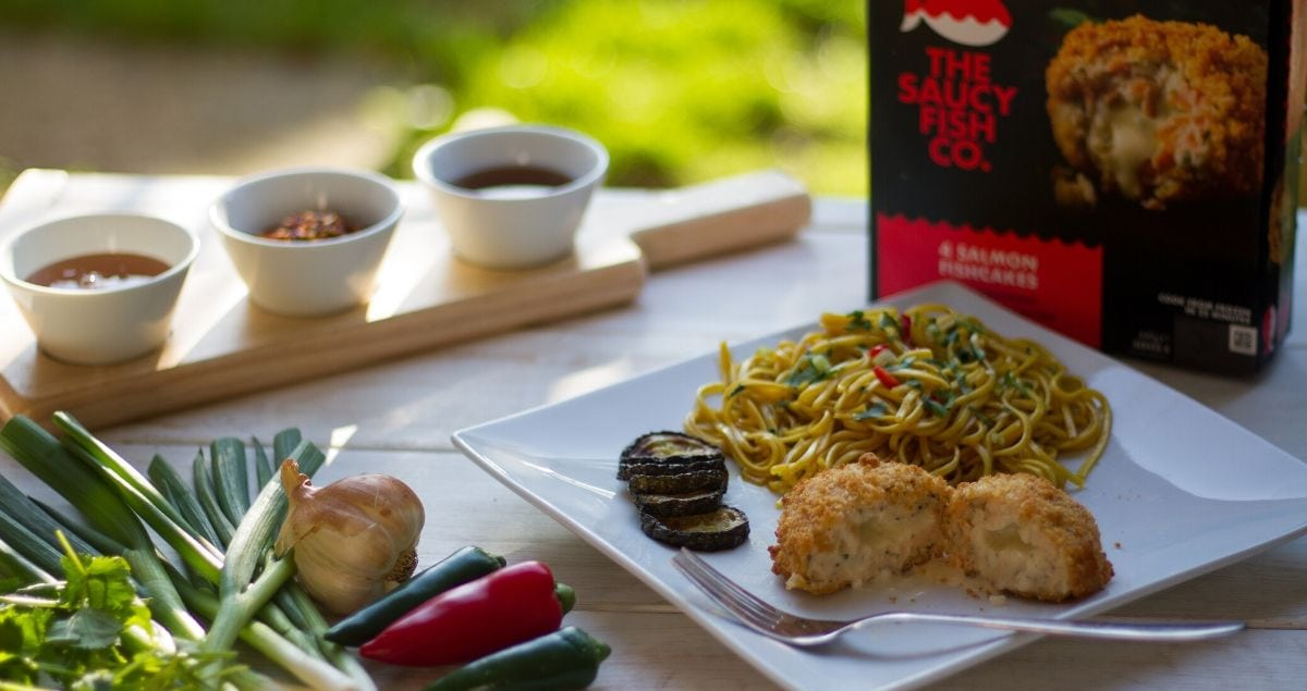Sweet Chilli noodles with salmon fishcakes feature image