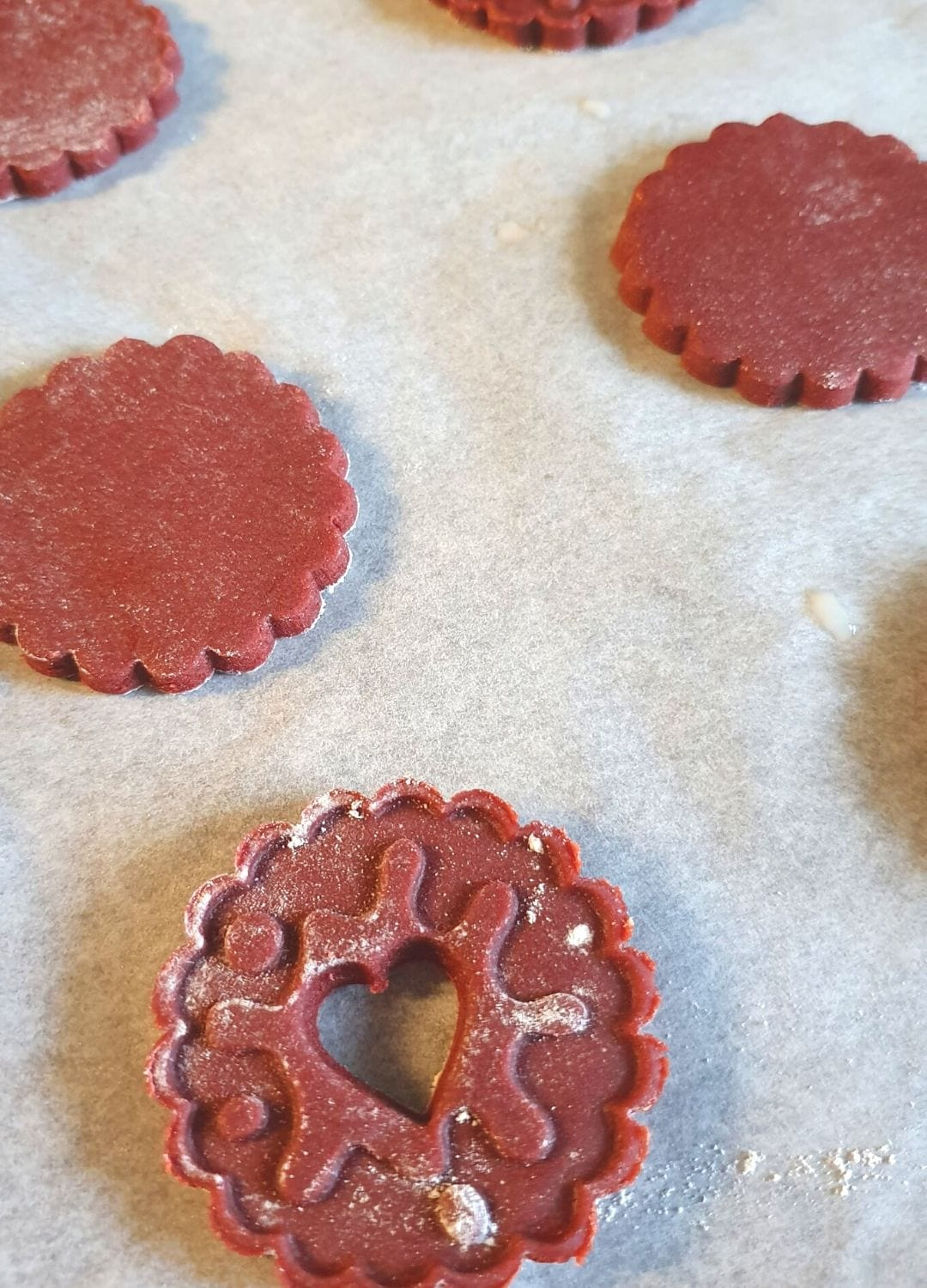 Jammy Dodger Red Velvet Cookies ready to bake