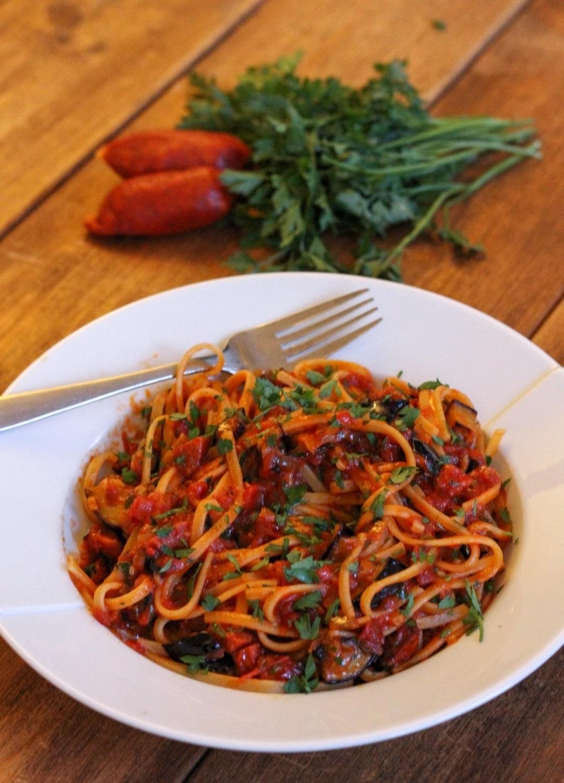Aubergine, Chilli, Chorizo & Sun-Dried Tomato Linguine  close up