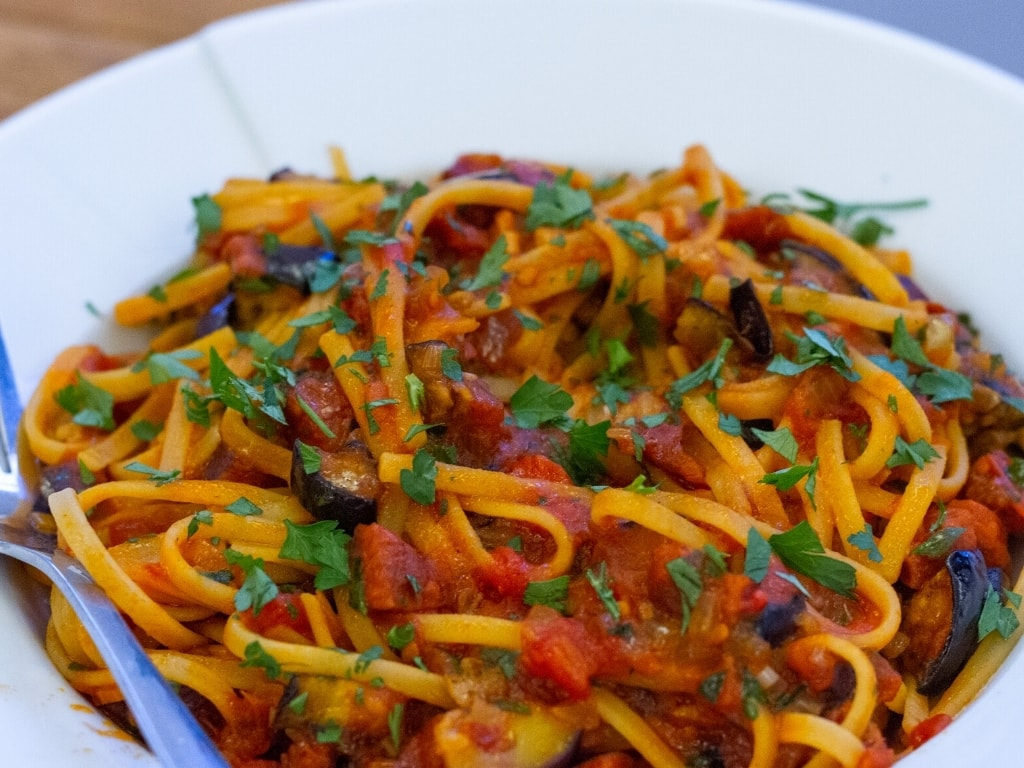 Aubergine, Chilli, Chorizo & Sun-Dried Tomato Linguine very close up