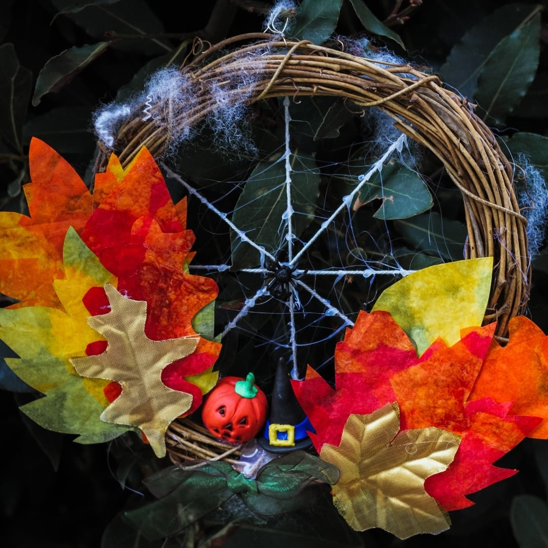 Finished DIY Halloween Wreath