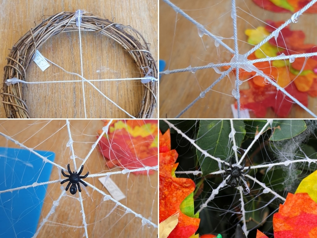 Making the spider's web in the middle of the Halloween Wreath