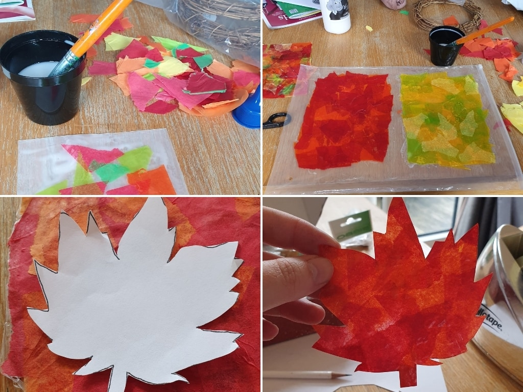 Steps for making tissue paper inro papier mache leaves.