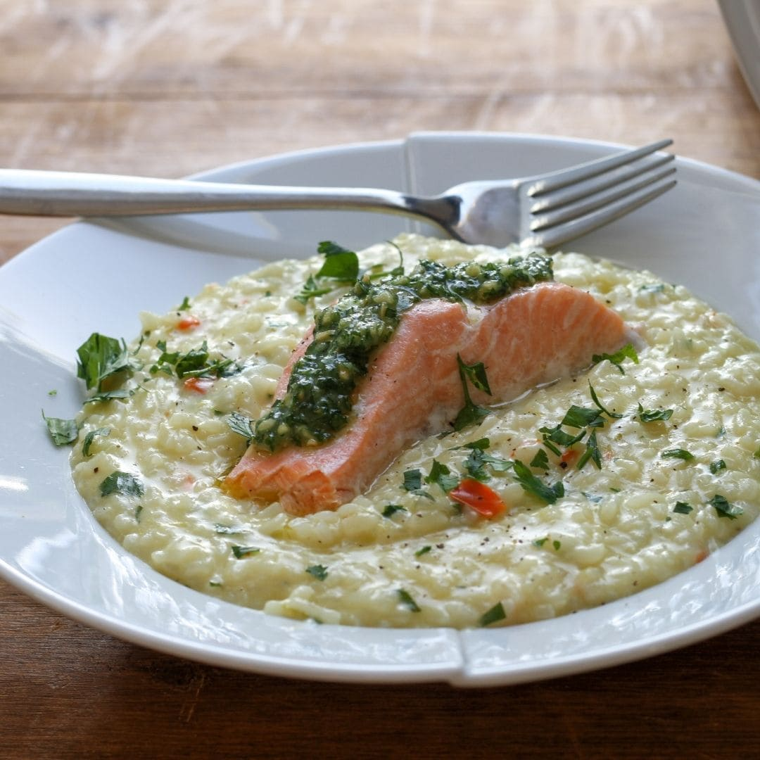 Close up of Salmon Risotto with pesto