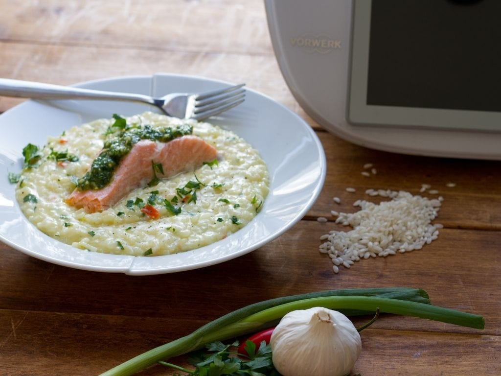 Salmon, Spring Onion and Chilli Risotto close up