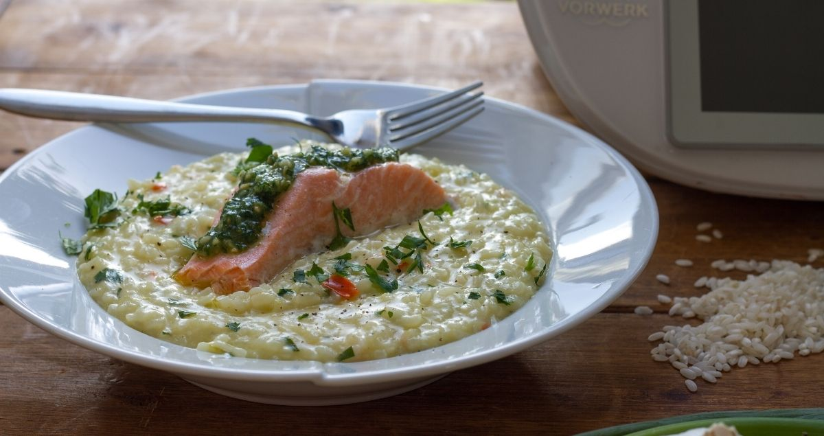 Salmon, Spring Onion and Chilli Risotto with Thermomix®