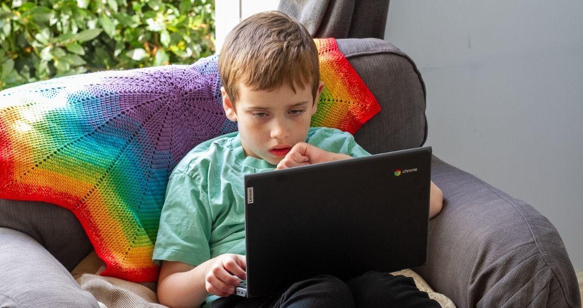 Boy using a Lenovo Chromebook Laptop